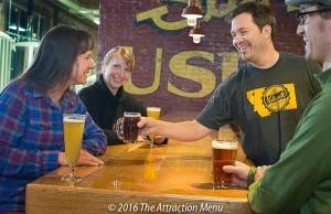 Kalispell Brewing Tasting Room, bartender and patrons
