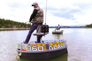 Glacier 360 Boat Rentals, Round boat, man fishing