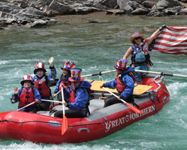 great northern whitewater rafting and US flag