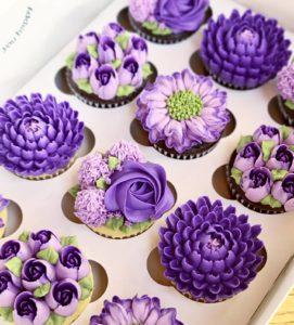 Custom purple flower cupcakes